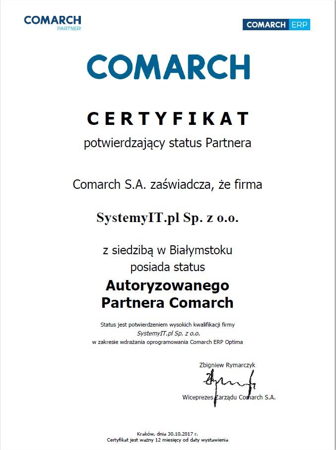 Certyfikowany PARTNER COMARCH SystemyIT.PL