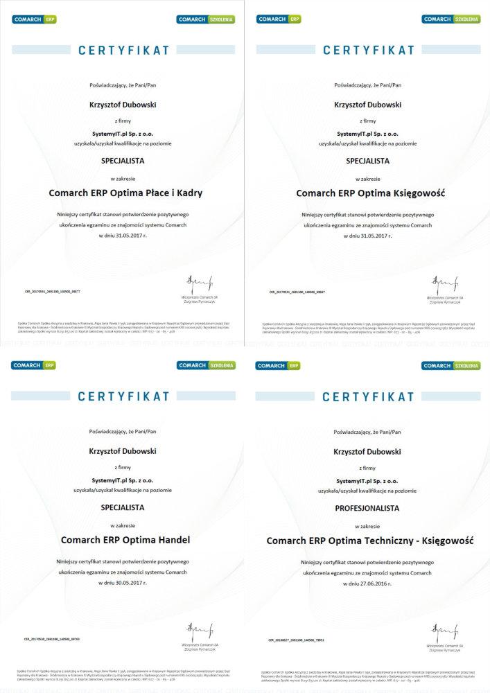 Certyfikaty COMARCH Partner