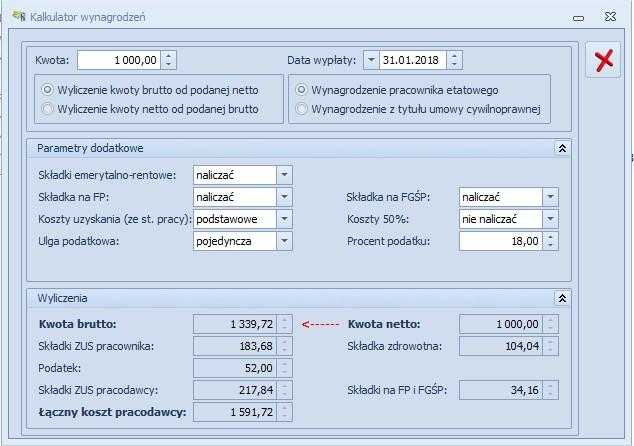 Kalkulator wynagrodzeń COMARCH OPTIMA