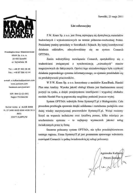 Wdrożenie COMARCH ERP OPTIMA w Kram Sp. z o.o