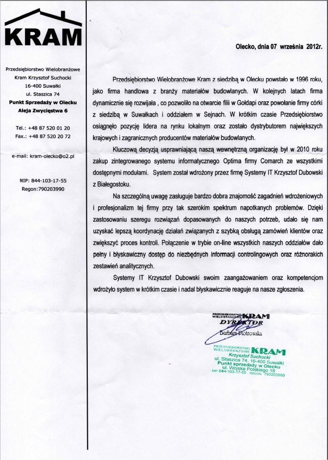 Referencje PW Kram dla SYSTEMYIT.PL