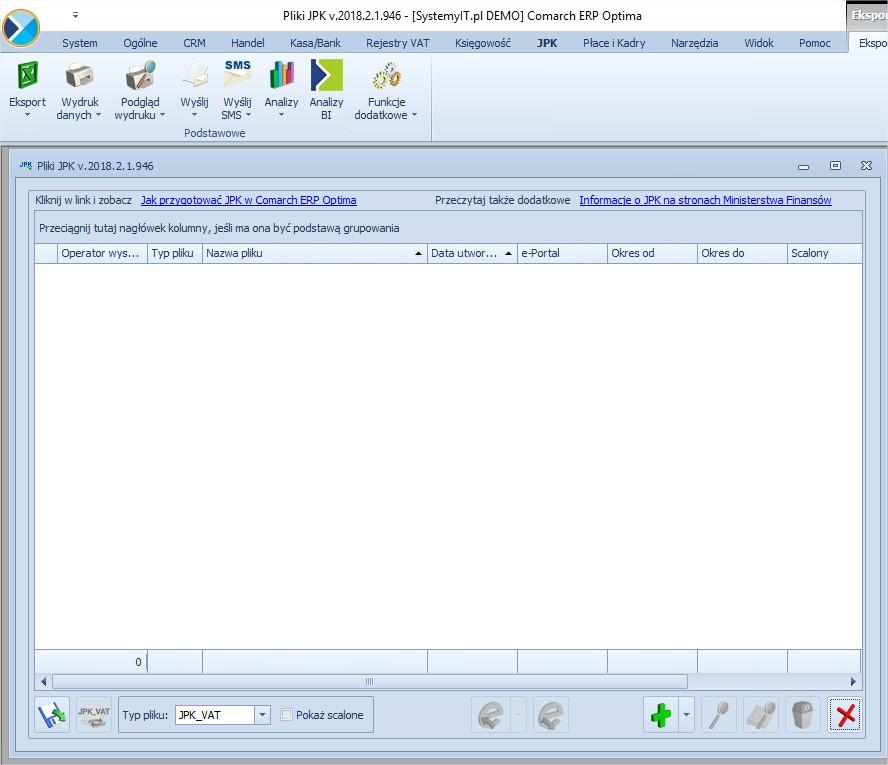 Generowanie i wysyłanie pliku JPK OPTIMA