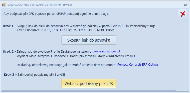 Wysłanie podpisanego pliku JPK_VAT COMARCH OPTIMA
