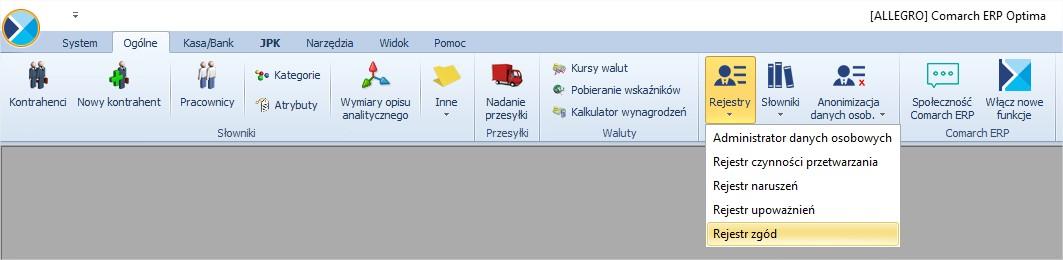 Rejestr zgód na przetwarzanie danych osobowych