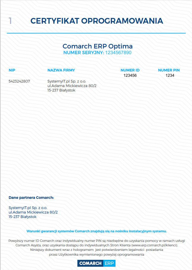 Certyfikat Oprogramowania COMARCH aktywacja pełnej wersji optima