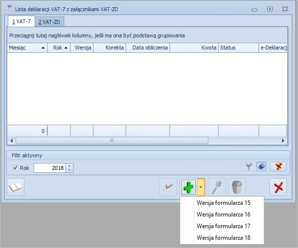 COMARCH ERP OPTIMA - nowy formularz deklaracji VAT7 (18)