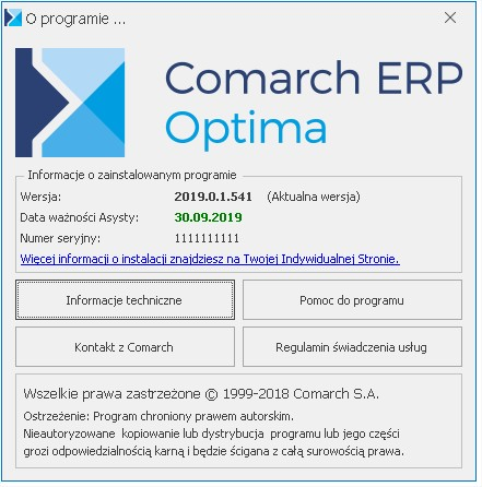 COMARCH OPTIMA 2019