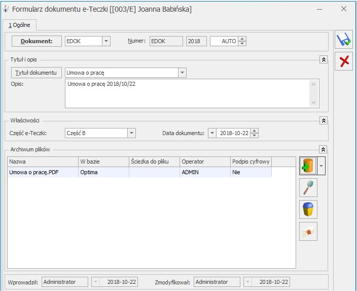 Dokumenty pracownika w wersji elektronicznej program COMARCH OPTIMA eteczka