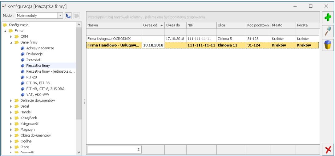 Historyczność danych firmy COMARCH OPTIMA