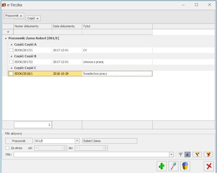 eteczka dane pracownicze w wersji elektronicznej comarch optima