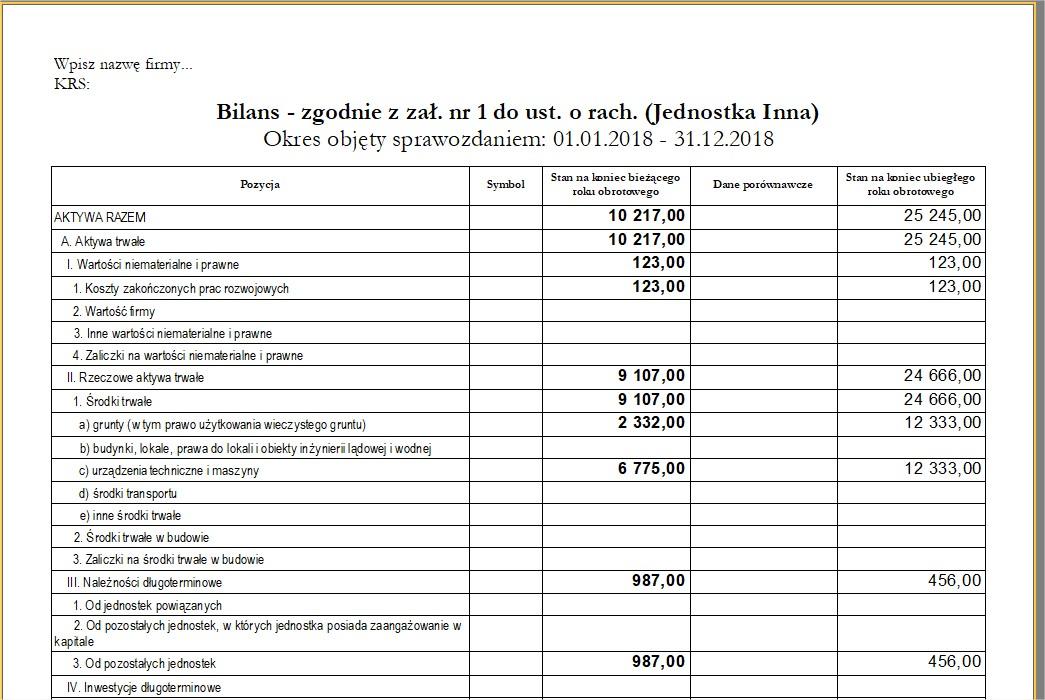 program e-sprawozdania wydruk bilansu