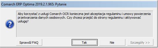 COMARCH OPTIMA skanowanie faktur aktywacja OCR