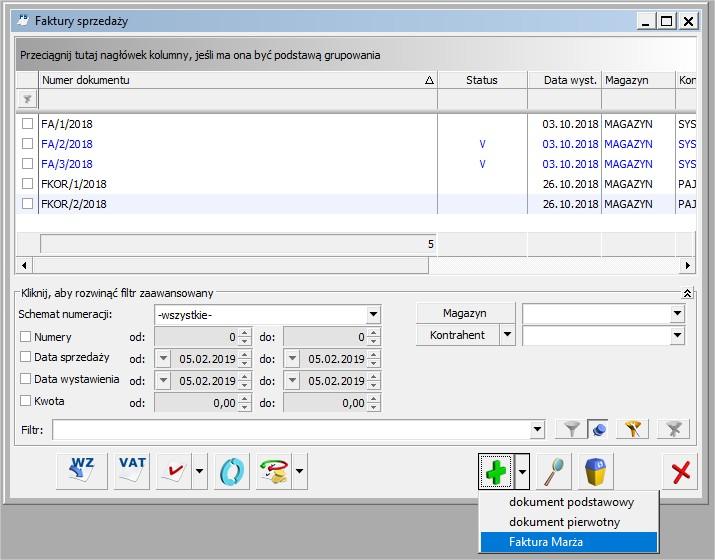 Faktura VAT marża program COMARCH OPTIMA