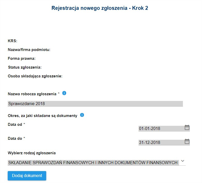 Rejestracja zgłoszenia w ekrs e-sprawozdania