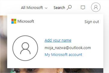 Dodawanie imienia do konta darmowego office