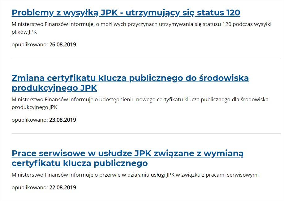 Błąd JPK - zmiany klucza , komunikaty problem z wysyłką JPK