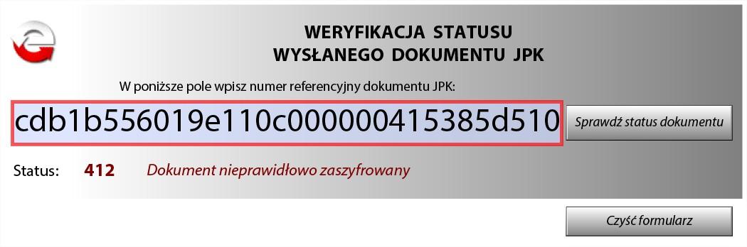 Błąd JPK Dokument nieprawidłowo zaszyfrowany