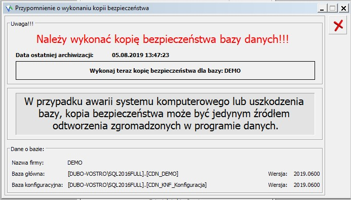 Aktualizacja OPTIMA kopia bezpieczeństwa