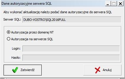 Autoryzacja SQL aktualizacja OPTIMA
