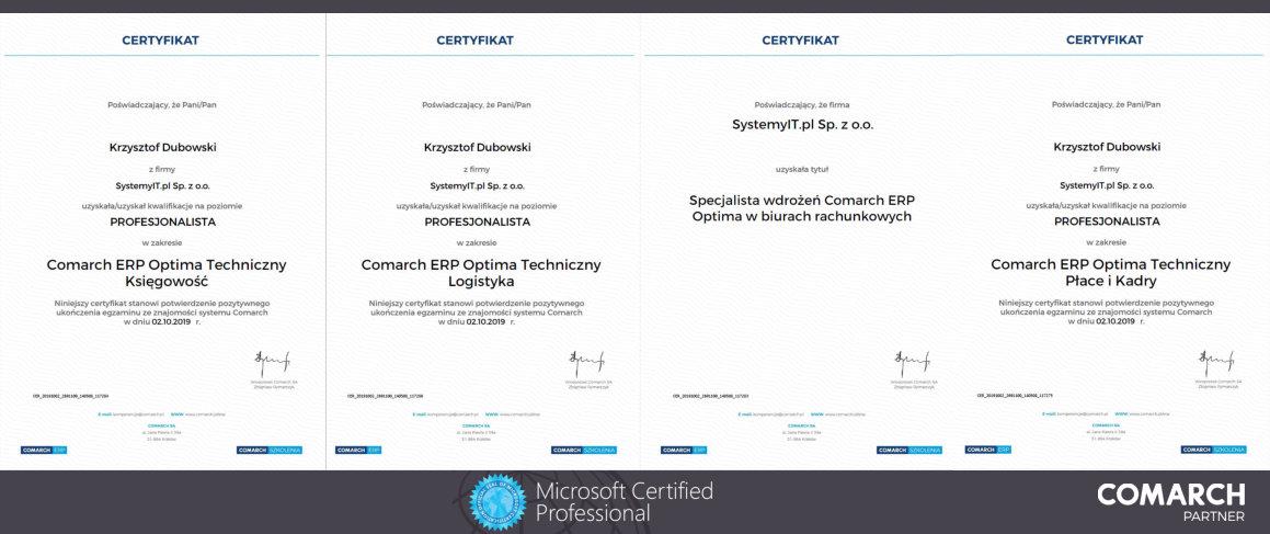 Asysta COMARCH Partner Certyfikaty