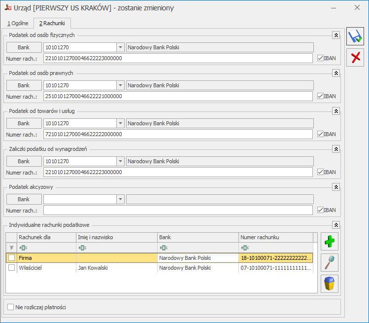 Indywidualny rachunek podatkowy mikrorachunek w COMARCH ERP OPTIMA