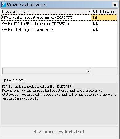 Aktualizacja PIT 2020 COMARCH ERP OPTIMA PIT 11 wersja 25