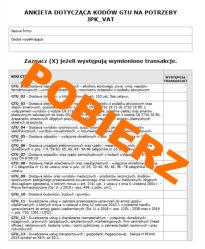 Ankieta kody GTU JPK_VAT darmowe pobieranie