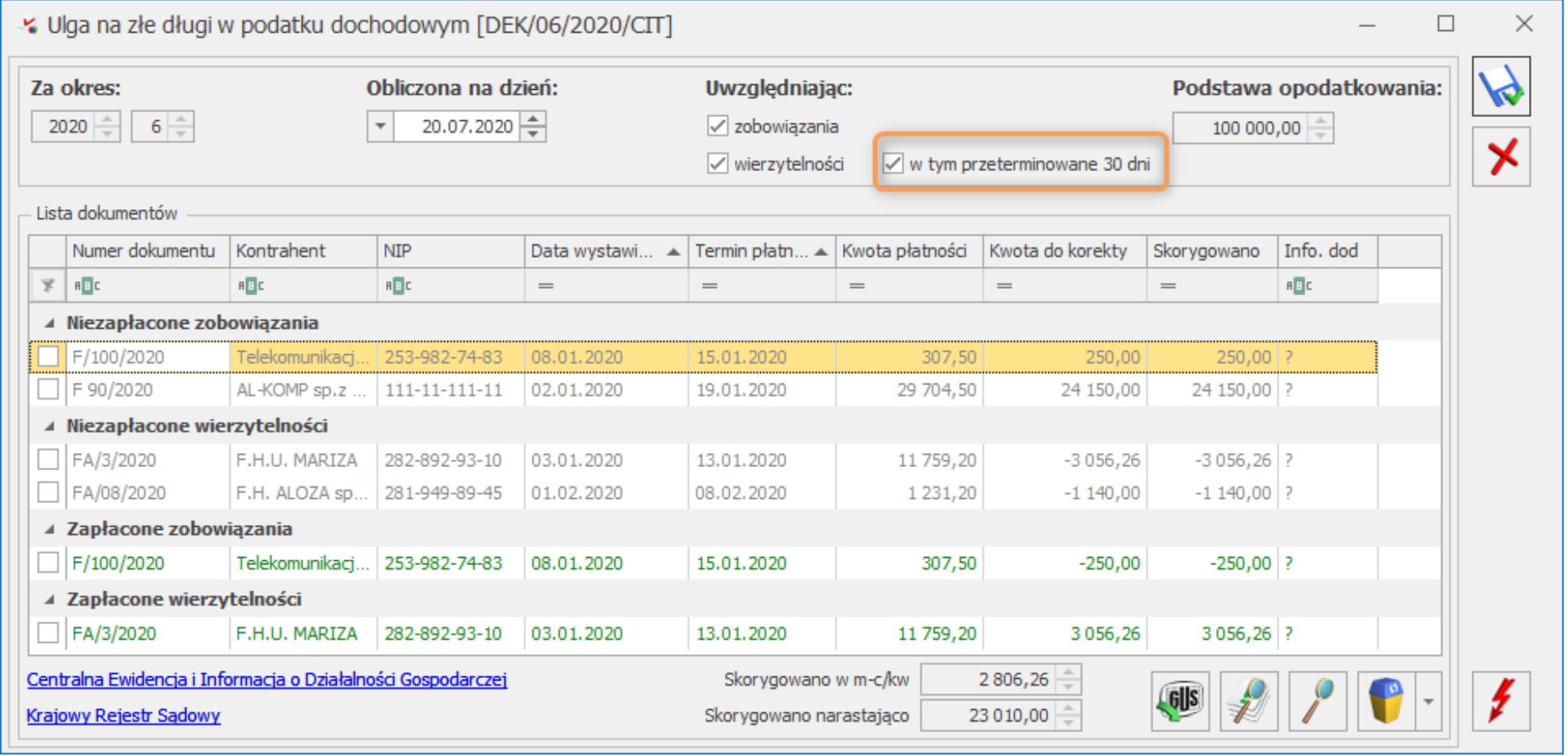 Nowa wersja COMARCH OPTIMA 2020.7.1 Ulga na złe długi