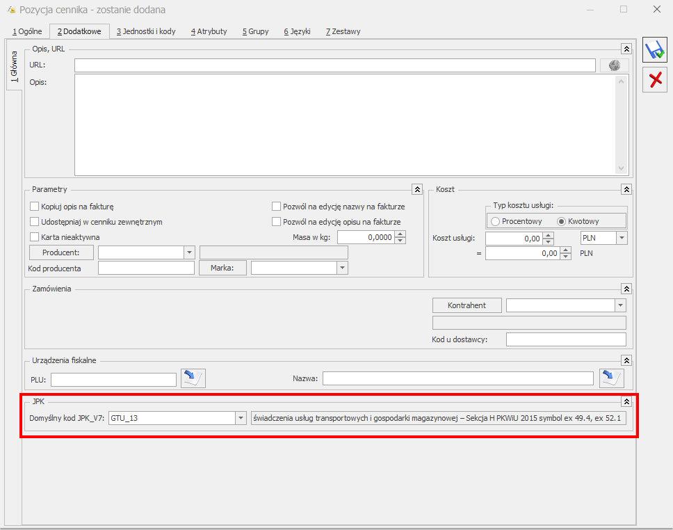 kody GTU przypisanie COMARCH OPTIMA JPK V