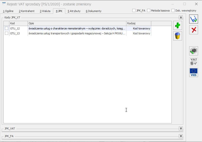 Kody GTU rejestr VAT COMARCH OPTIMA nowy plik JPK