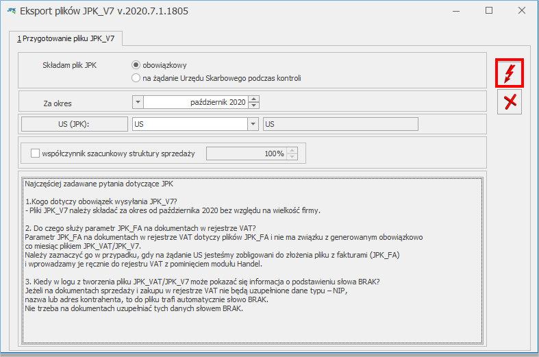 generowanie pliku JPK_V& COMARCH OPTIMA