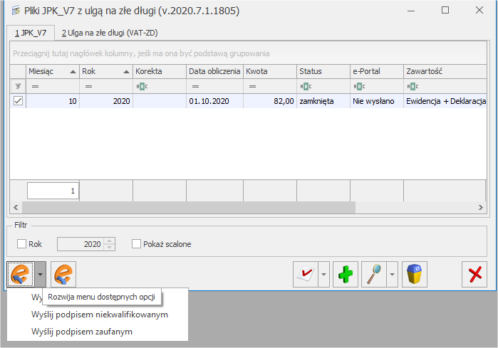 Wysyłka pliku JPK_V7 COMARCH OPTIMA