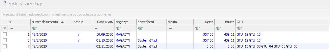 Kody GTU na liście faktur COMARCH OPTIMA