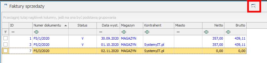 Dodanie kodów GTU na liście faktur JPK_v7 optima