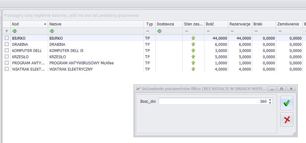 Filtr COMARCH OPTIMA towary bez rotacji