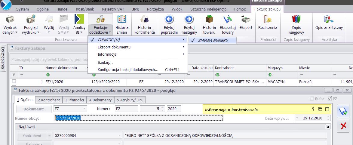 Zmiana numeru obcego na zatwierdzonej fakturze zakupu COMARCH OPTIMA